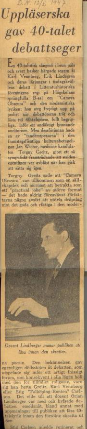 Om Camera Obscura som practical joke 1947.